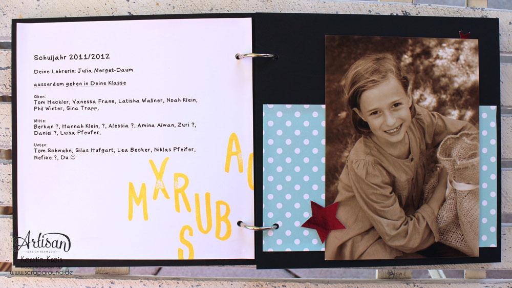 """Stampin´ Up! Artisan DesignTeam BlogHop 16.07.2015 - MiniAlbum """"Hallo Schule"""" Schulzeit-Fotos mit Designerpapier """"Schulzeit"""" und Stempelsets """"Words of Truth"""" und """"Unvergesslich"""" Detailbild05"""