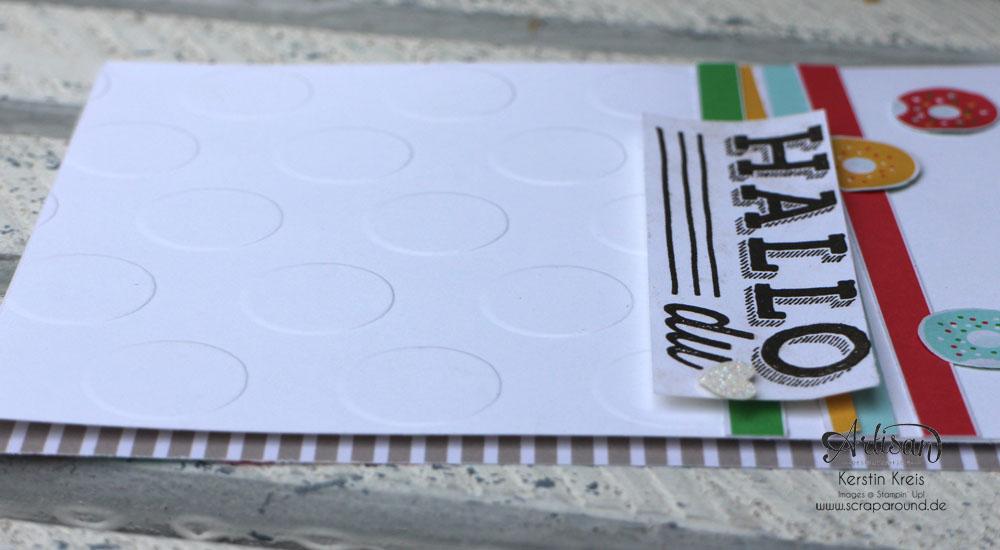 """Stamping & Blogging DT Sketch108 Karte mit Designerpapier im Block """"Bunte Party"""" und Stempelset """"Unter Freunden"""" Detailbild2"""