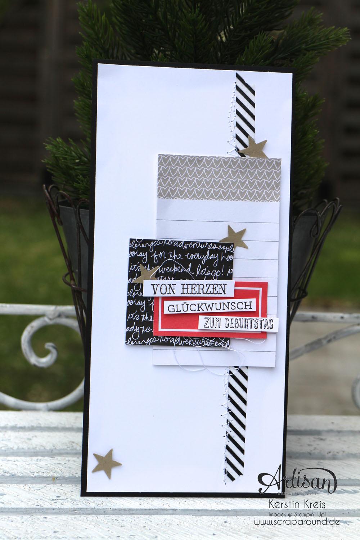 """Stamping & Blogging DT Sketch108 Geburtstagskarte mit ProjectLife Kartenkollektion  """"Momente wie diese"""" und Stempelset """"Eins für alles"""""""