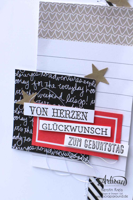 """Stamping & Blogging DT Sketch108 Geburtstagskarte mit ProjectLife Kartenkollektion  """"Momente wie diese"""" und Stempelset """"Eins für alles""""  Detailbild1"""