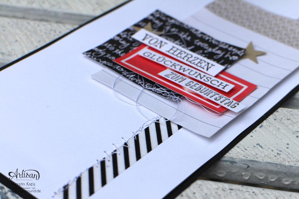 """Stamping & Blogging DT Sketch108 Geburtstagskarte mit ProjectLife Kartenkollektion  """"Momente wie diese"""" und Stempelset """"Eins für alles""""  Detailbild2"""
