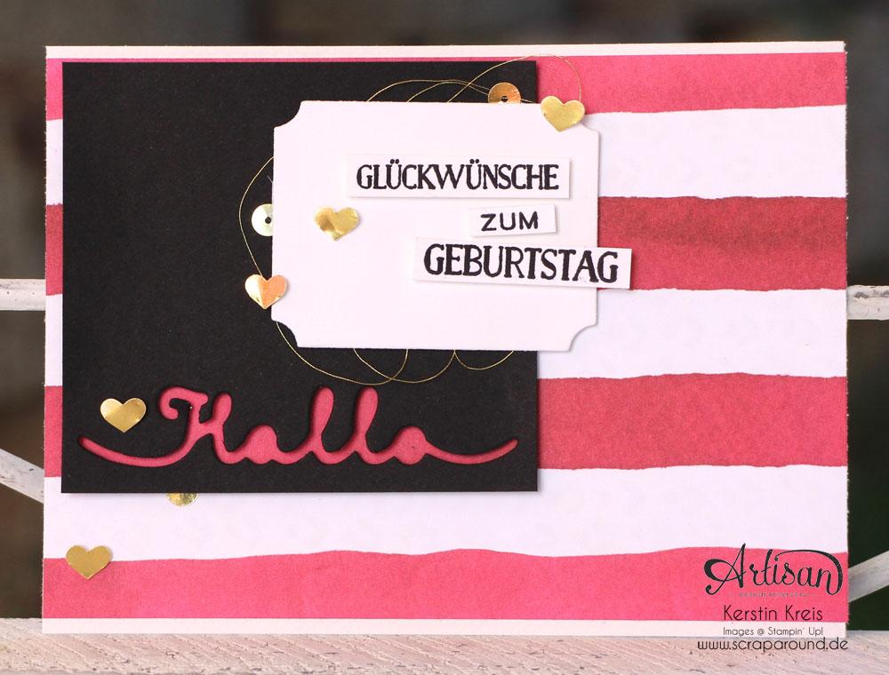 """Stamping & Blogging DT Sketch111 Geburtstagskarte mit Designer-Papier  """"Englischer Garten"""" und Stempelset """"Grußelemente"""""""