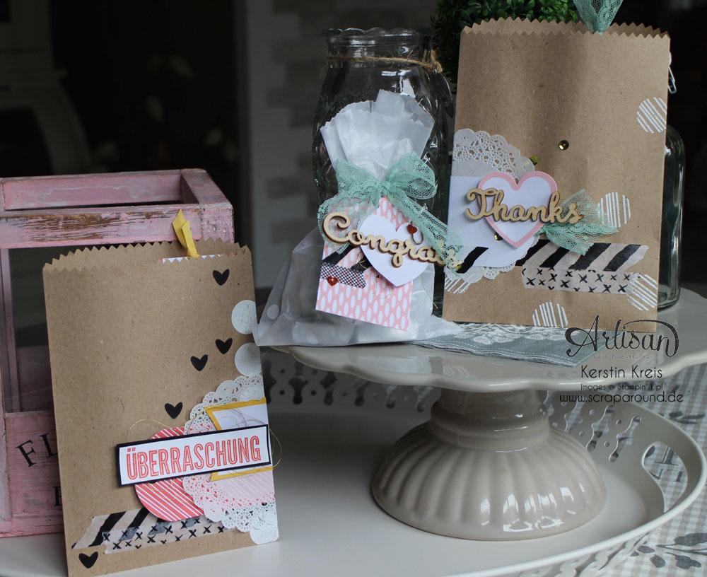 """Stampin´ Up! Artisan DesignTeam BlogHop 23.07.2015 Verpackungsideen mit Geschenktüten """"schnelle Überraschung"""" und """"Tag a Bag Zubehörset"""" und Natur-Elemente """"Wortwörtlich"""""""