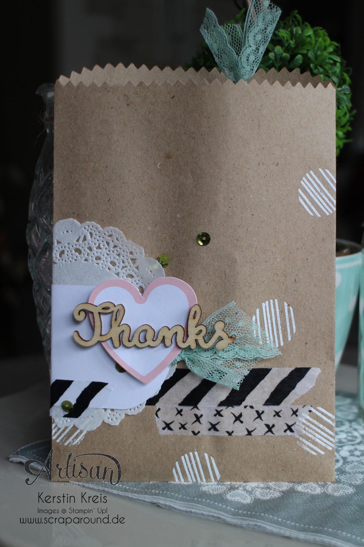 """Stampin´ Up! Artisan DesignTeam BlogHop 23.07.2015 Verpackungsideen mit Geschenktüten """"schnelle Überraschung"""" und """"Tag a Bag Zubehörset"""" und Natur-Elemente """"Wortwörtlich"""" Detailbild01"""