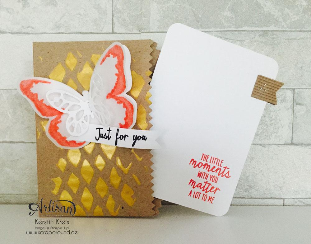 """Stampin´ Up! Artisan DesignTeam BlogHop 30.07.2015 Karte mit Geschenktüten """"schnelle Überraschung"""" , Dekoschablone, Set """"Watercolor Wings"""" und Framelits """"Schmetterling"""""""