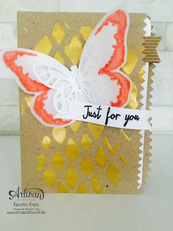 """Stampin´ Up! Artisan DesignTeam BlogHop 30.07.2015 Karte mit Geschenktüten """"schnelle Überraschung"""" , Dekoschablone, Set """"Watercolor Wings"""" und Framelits """"Schmetterling"""" Detailbild1"""