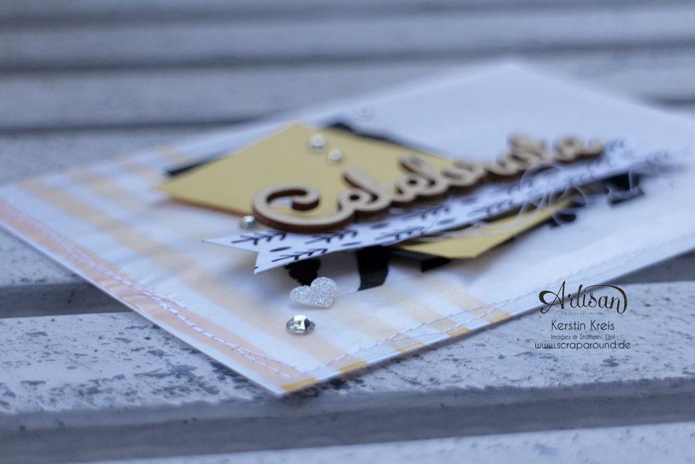 """Stamping & Blogging DT Sketch112 Karten mit Designer-Papier """"Modische Muster"""" und Stempel """"Brushstrokes"""" und Natur-Elemente """"Wortwörtlich"""" Detailbild05"""