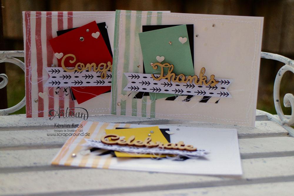 """Stamping & Blogging DT Sketch112 Karten mit Designer-Papier """"Modische Muster"""" und Stempel """"Brushstrokes"""" und Natur-Elemente """"Wortwörtlich"""""""