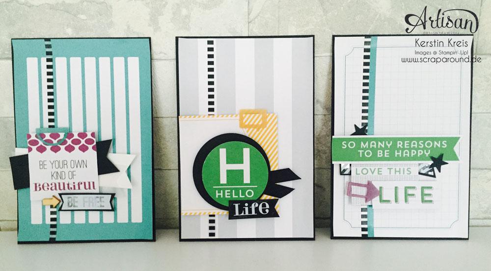 """Stamping & Blogging DT Sketch115 Karten ohne Stempel mit Projekt Life Karten-Kollektion und Zubehörpaket """"so ist das Leben"""""""