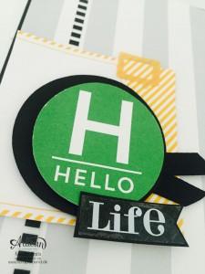 """Stamping & Blogging DT Sketch115 Karten ohne Stempel mit Projekt Life Karten-Kollektion und Zubehörpaket """"so ist das Leben""""  Karte 2 Detail"""