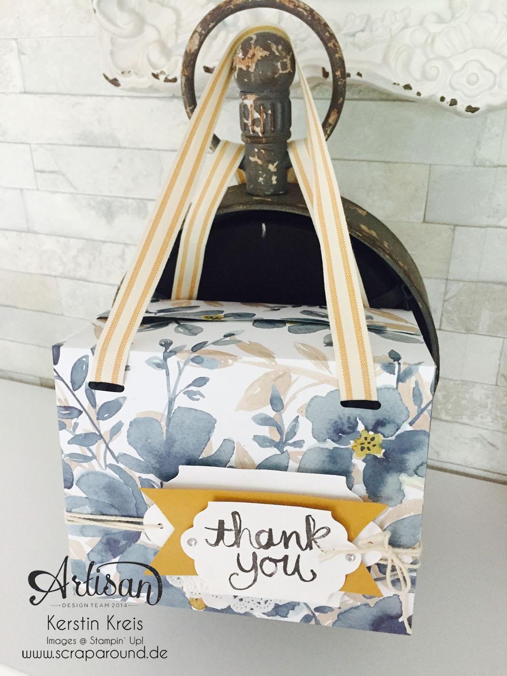 """Stampin´ Up! Artisan DesignTeam BlogHop 20.08.2015 Tasche mit Designerpapier """"Englischer Garten"""" und Stempelset """"Watercolor thank you"""" und """"Unter Freunden"""" Detailbild01"""