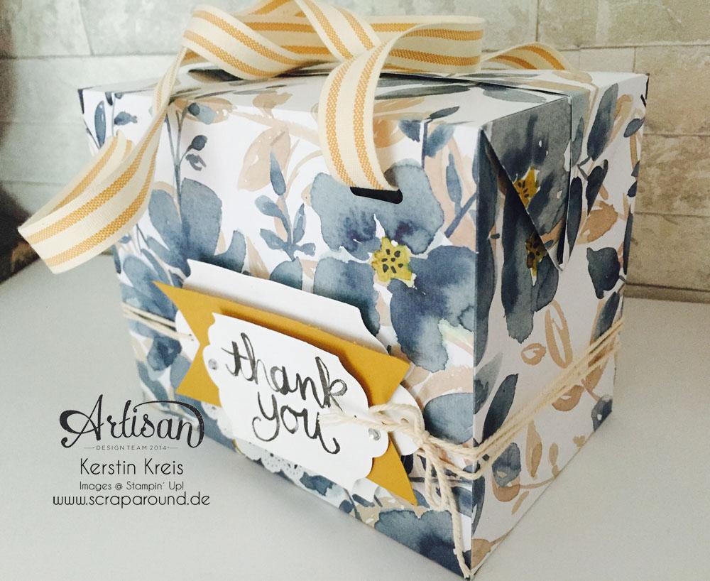 """Stampin´ Up! Artisan DesignTeam BlogHop 20.08.2015 Tasche mit Designerpapier """"Englischer Garten"""" und Stempelset """"Watercolor thank you"""" und """"Unter Freunden"""" Detailbild02"""
