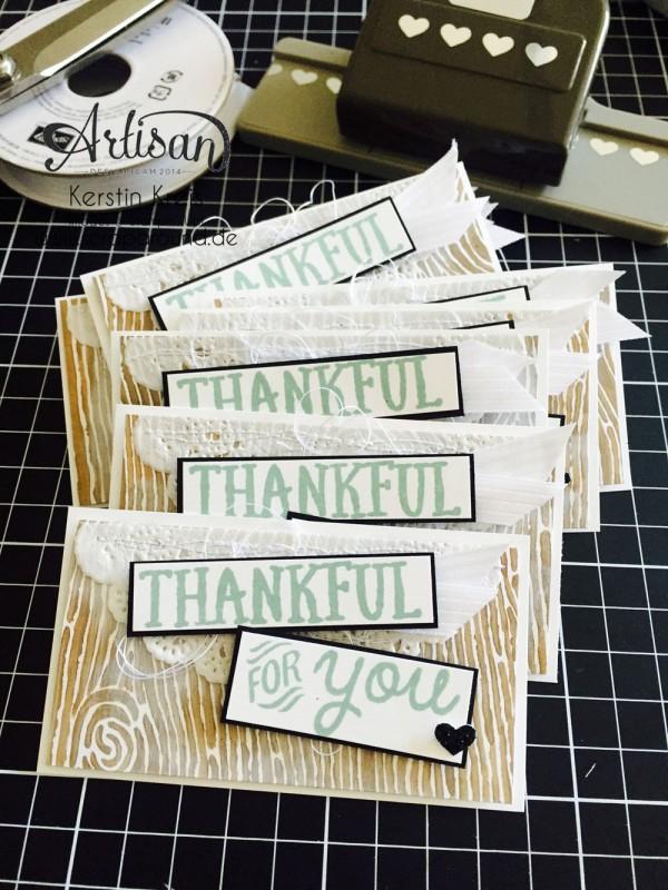 """Stampin´ Up! Artisan DesignTeam BlogHop 15.10.2015 Danke Karten mit Designerpapier """"Am Waldrand"""" und Stempelset """"thankful Forest Friends"""" Detailbild01"""
