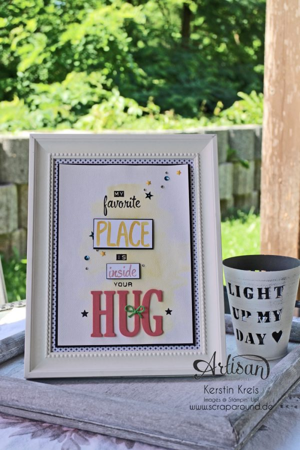 Stampin' Up! color your world BlogHop Dekorahmen mit Spruch Stampin' Up! Designerpapier Pink mit Pep und Stampin' Up! Stempel Labeler Alphabet, Layered Letters Alphabet, Brushwork Alphabet und Framelits Large Letters