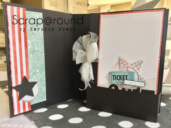 Stampin Up Crop im Pott Minialbum aus Graupappe mit Einschub und Designerpapier Sukkulentengarten