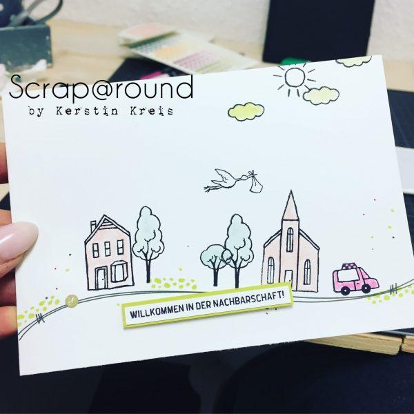 Stampin Up Karte Gastgeberset Stadt, Land, Gruß Nachbarschaft