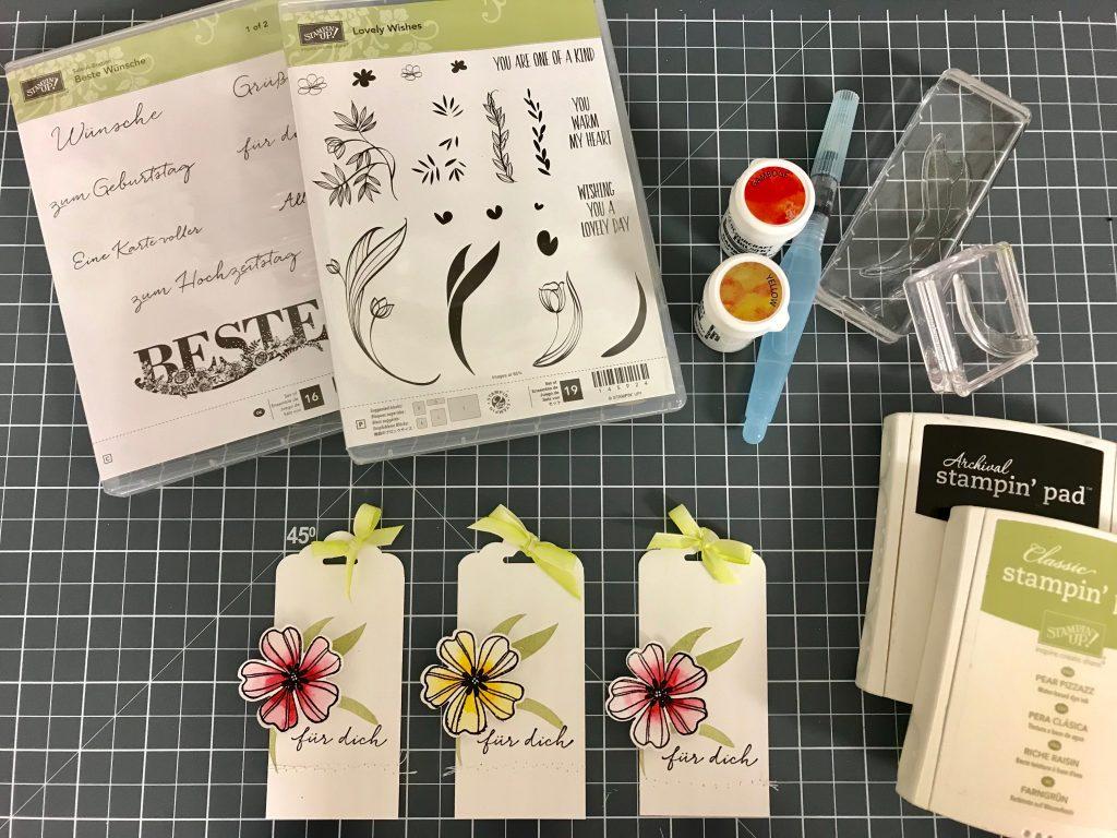 Stampin' Up! Geschenkanhänger Stiefmütterchen Kolorieren Stempelset Flower Shop Brushos Frühjahr-/Sommerkatalog 2018