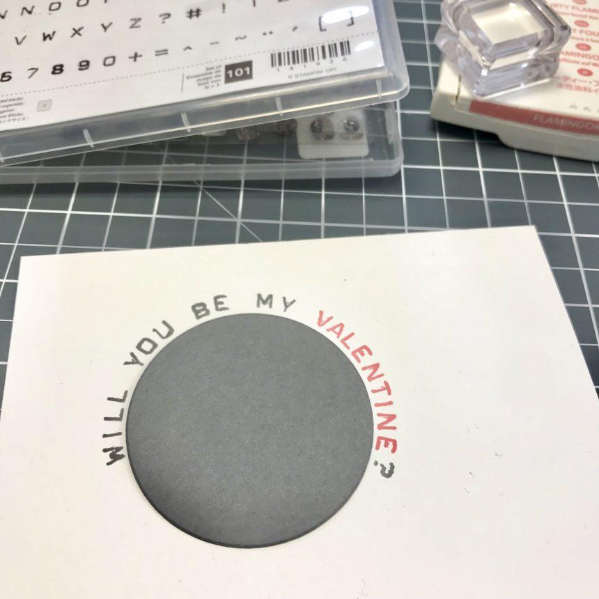 Stampin up Valentinskarte mit Herz Stempelset Heart Happiness und Labeler Alphabet Detailbild3