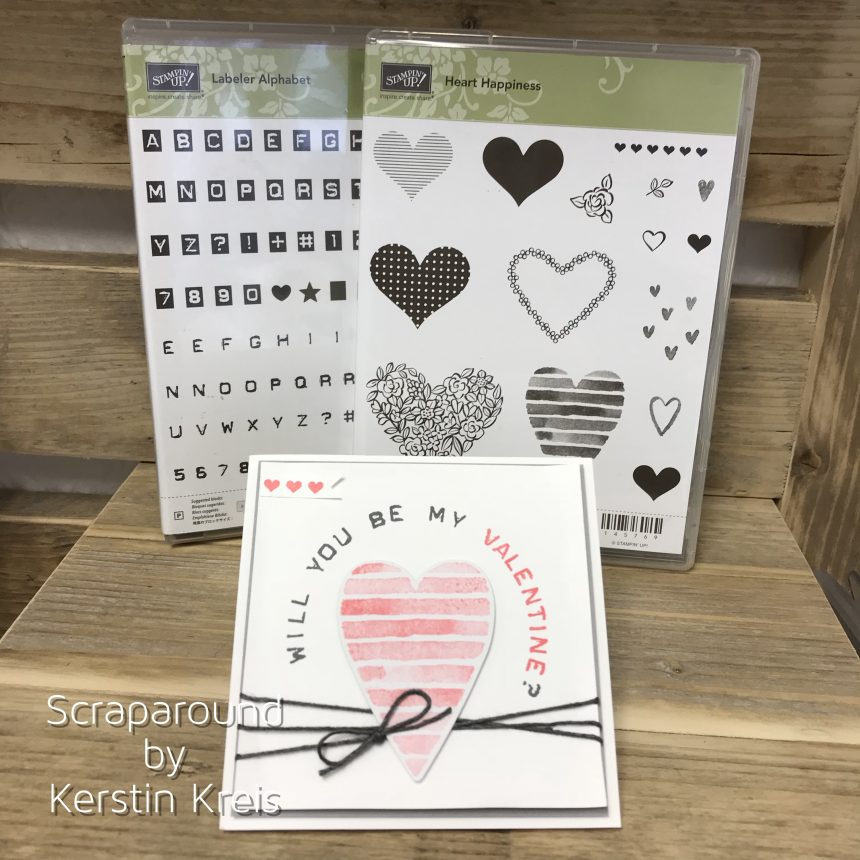 Stampin up Valentinskarte mit Herz Stempelset Heart Happiness und Labeler Alphabet Detailbild1