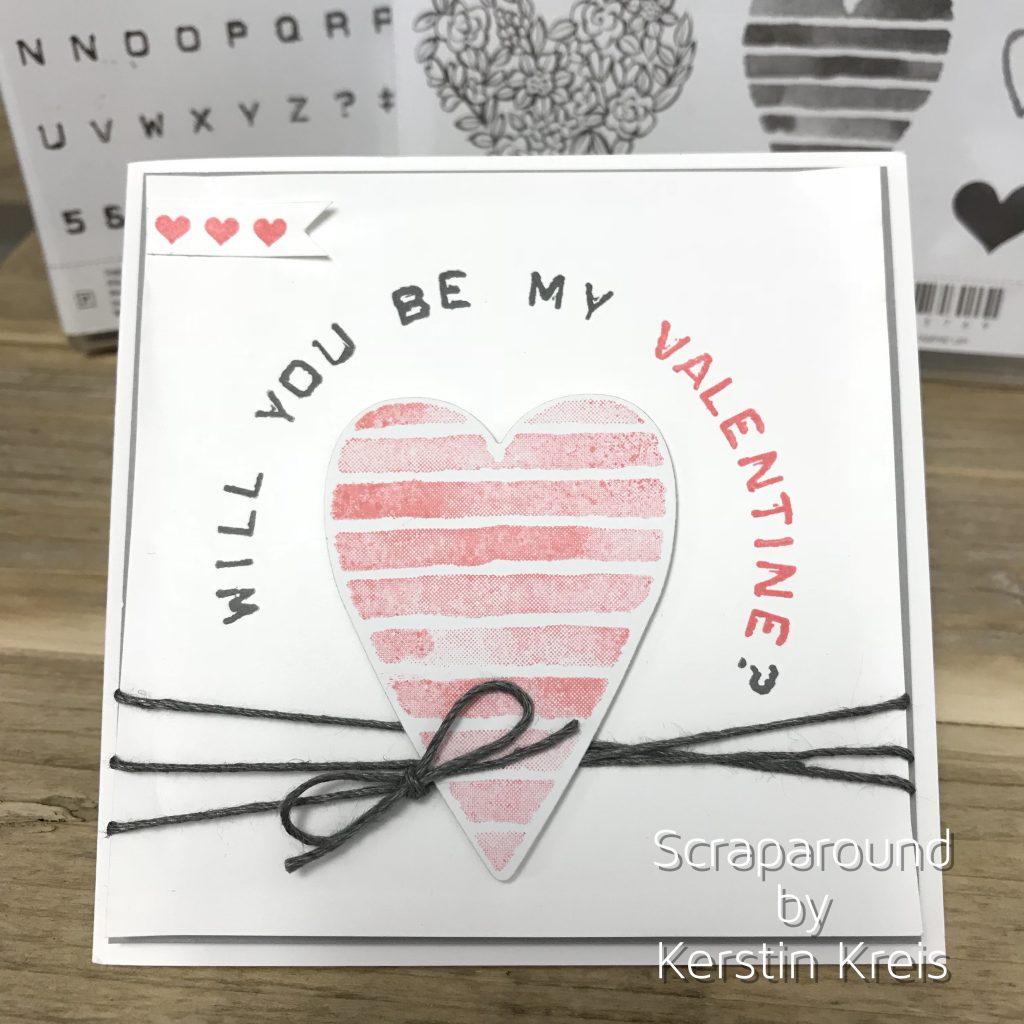 Stampin up Valentinskarte mit Herz Stempelset Heart Happiness und Labeler Alphabet