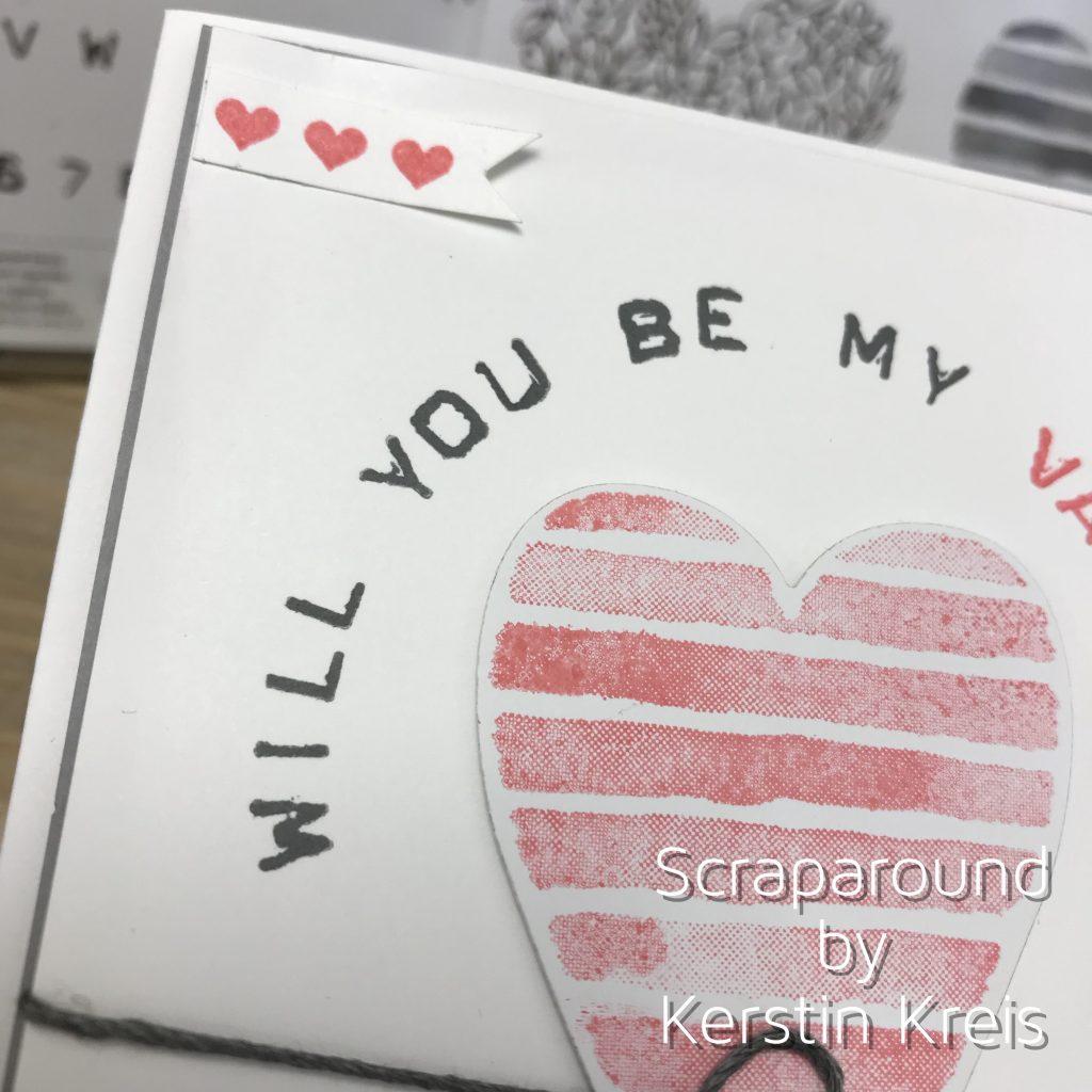 Stampin up Valentinskarte mit Herz Stempelset Heart Happiness und Labeler Alphabet Detailbild2