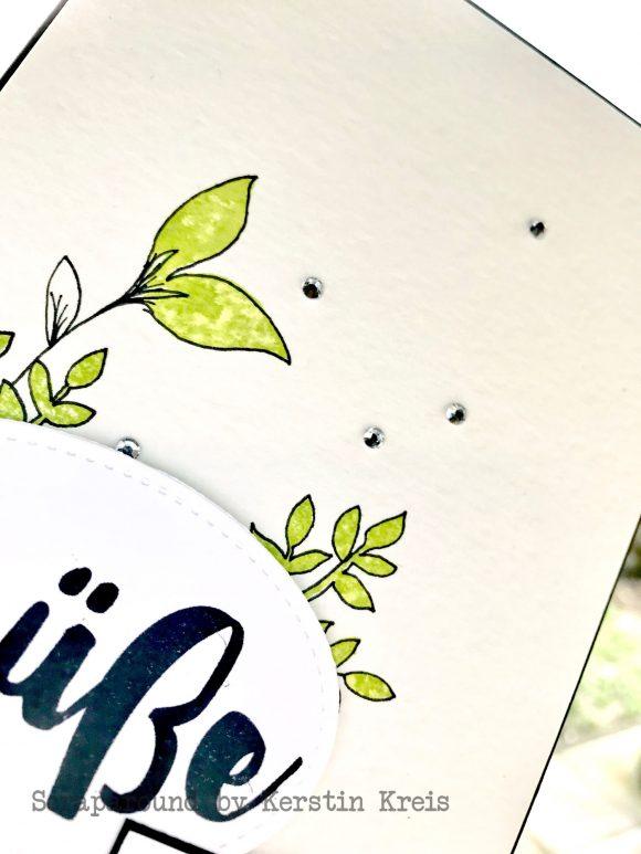 Stampinup Karte Stempelset Ganz liebe Grüße mit Aquarellpapier und Stickmuster Framelits Detailbild