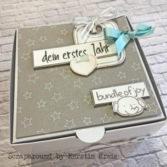 stampinup onlineworkshop Baby Fotobox Stempel Fastened with Love Designerpapier Sternstunden Bild2