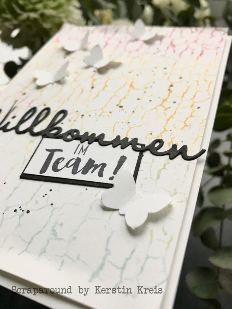 stampinup gdp176 Karte Farbverlauf Feuchttuch Technik Willkommen im Team Crackle Paint Schmetterlingsduett Hintergrund Detailbild04