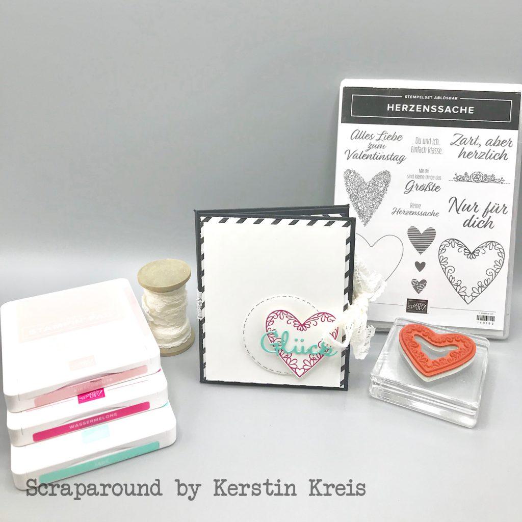stampinup minibook album glück herzenssache Stanzen herzlich bestickt Designerpapier Schmetterlingsglück Detailbild1