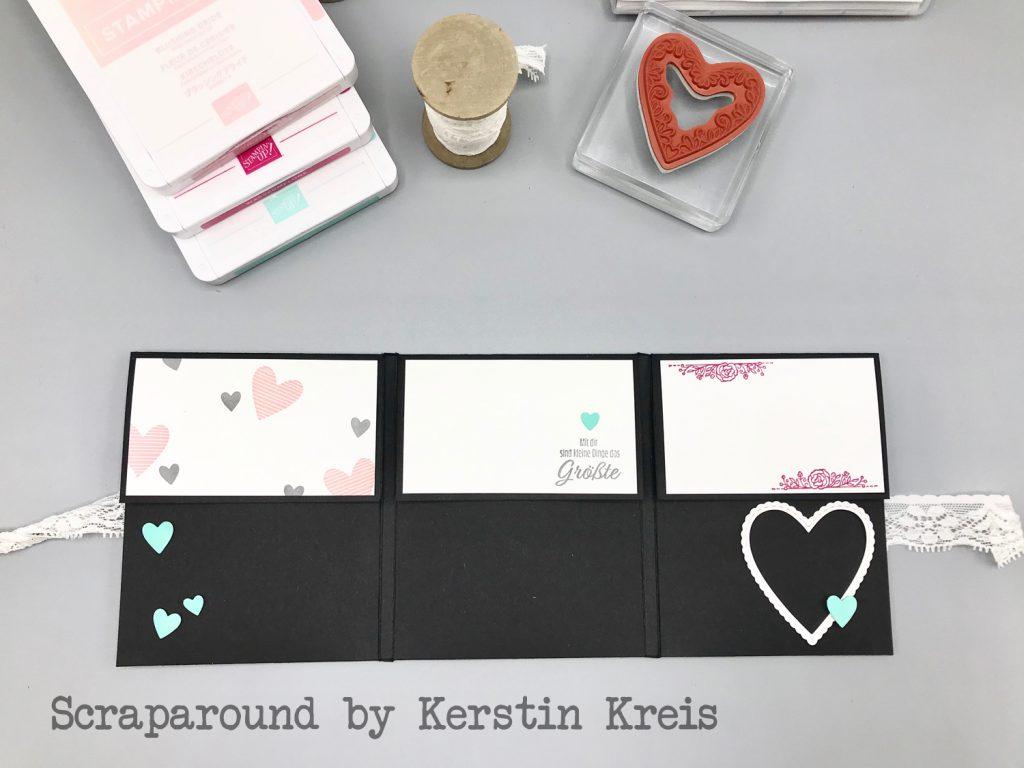 stampinup minibook album glück herzenssache Stanzen herzlich bestickt Designerpapier Schmetterlingsglück Detailbild3