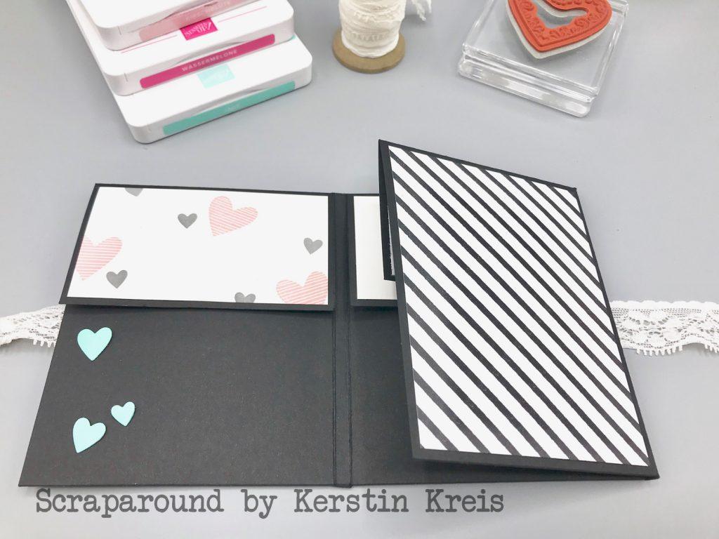 stampinup minibook album glück herzenssache Stanzen herzlich bestickt Designerpapier Schmetterlingsglück Detailbild2