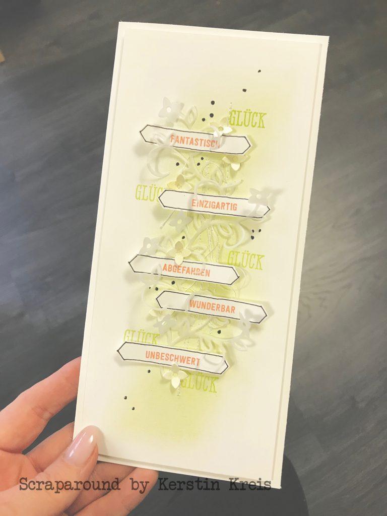 stampinup Karte glücklich Stempel Bannerweise Grüße Stanzen Framelits Schön geschrieben global Design Project gdp181 Detailbild1