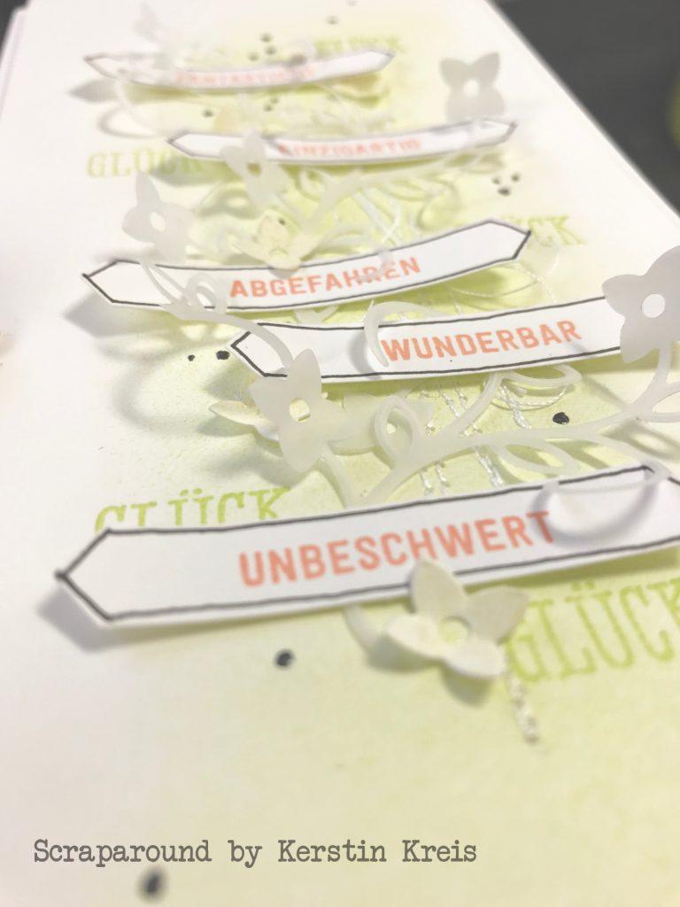 stampinup Karte glücklich Stempel Bannerweise Grüße Stanzen Framelits Schön geschrieben global Design Project gdp181 Detailbild3