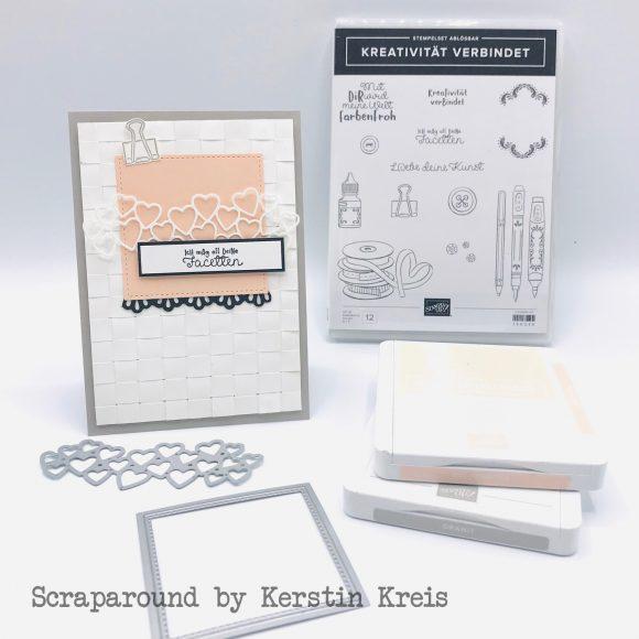 stampinup Karte GDP186 Sketch gewebter Hintergrund Papierstreifen Stempel Kreativität verbindet Stiched Framelits